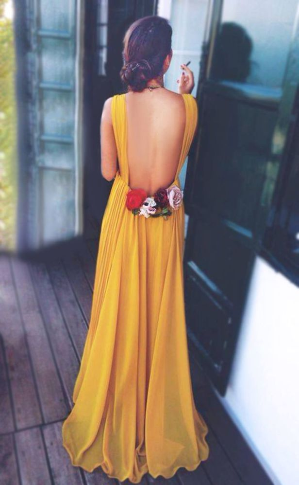 yellow back dress